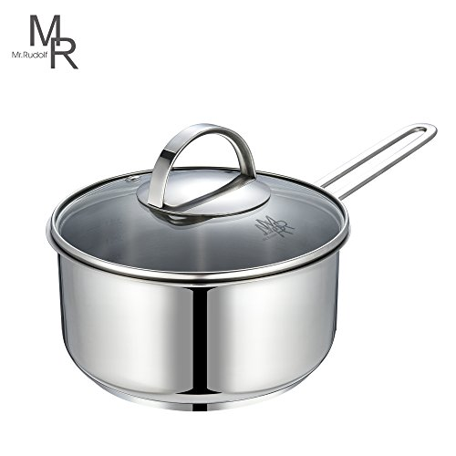 Mr. Rudolf Chef's Classic Saucepan 18/10 Stainless Steel 1 Handle Saucepan with Glass Lid 1 Quart Dishwasher Safe PFOA Free Saucepan 16cm 1.25 Liter (Glass Steel Casserole)
