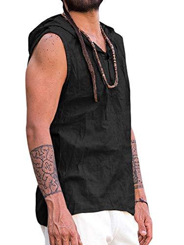 Runcati Mens Casual Henley Shirt V-Neck Beach Yoga Hippie Cotton Hooded Sleeveless Tank Tops Henley Shirt Tees Black ()