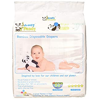 Eco Friendly Premium Bamboo Disposable Diapers by Andy Pandy - Medium - for Babies Weighing 13-22 lbs - Medium (Pack of 80)