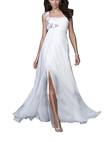 Schulter Schein BRIDE Applikationen Abend einer Kleid mit Vorder Mantel GEORGE Weiß Perlen Spalte IXBxOfww