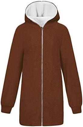 Liengoron Womens Casual Fuzzy Fleece Hooded Draped Pockets Faux Fur Cardigan Coat