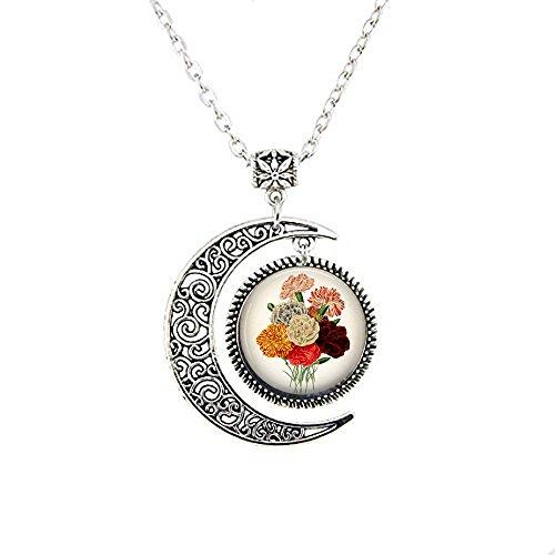 Carnations Necklace - Carnation Pendant - Floral Pendant Necklace - Vintage Flower - Flower Moon Necklace - Gardener Gift - Dianthus caryophyllus