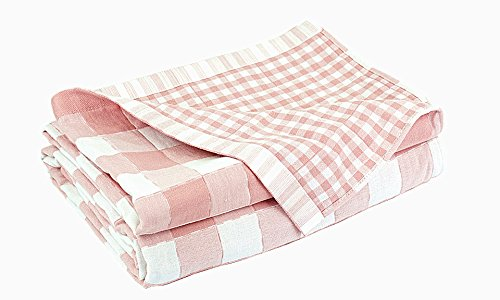 C&H Solutions 100% Cotton, Three layers woven,breathable and absorbs moisture Quilted Throw Blanket By (Pink/White Square Design) ()