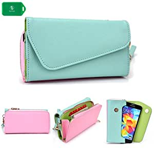 Nokia N9 -UNIVERSAL- WOMENS WRISTLET PHONE HOLDER W/ INTERNAL CARD SLOTS- BABY BLUE AND LIGHT PINK - BONUS CROSS BODY CHAIN INCLUDED