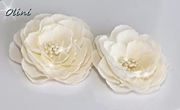 Amazon set of 2 whimsical ivory bridal silk flowers hair clips set of 2 whimsical ivory bridal silk flowers hair clips mightylinksfo