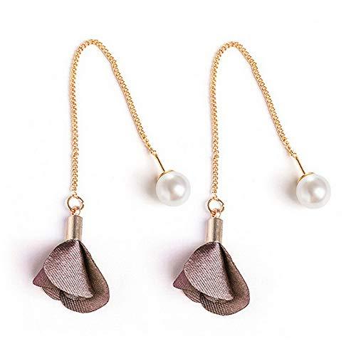 Endicot Petals Acrylic Crystal Women Fashion Stud Earrings Cloth Flower Earing Long Drop | Model ERRNGS - 17677 |