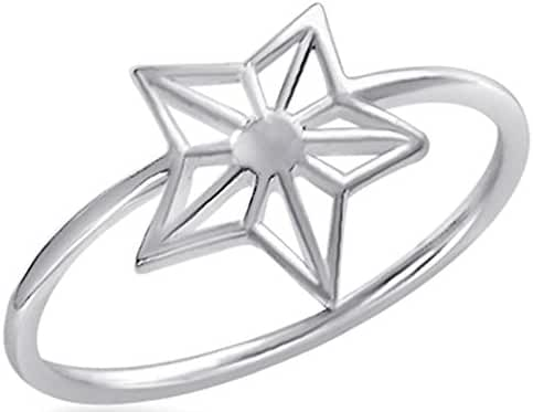 Fantom 925 Sterling Silver Shinning Star Design Ring With Matte Finish - Light Weight (6)