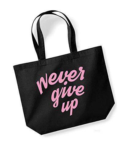 Slogan Unisex Cotton Bag Black pink Print Never Up Tote Kelham Canvas Give q7Bfn