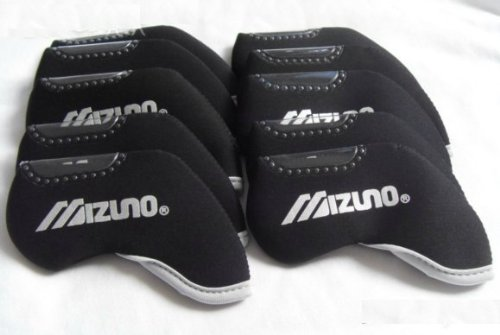 New!! Mizuno 10pcs Black Headcover for Any Iron Club – Neoprene Head Covers, Outdoor Stuffs