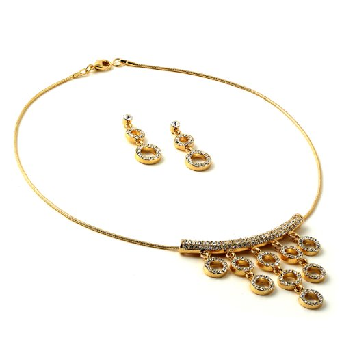 Gold Plating Necklace and Dangle Rhinestone Circle Earrings Jewelry