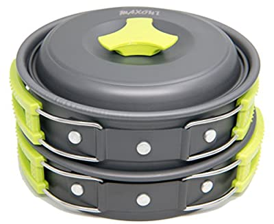 Camping Cookware Set - 10 Pieces - For Hiking, Picnic, Camp Mess Kit - Outdoor Kitchen Set - Lightweight, Nonstick, Non-Toxic, BPA Free, FDA Approved - Made Of Anodized Aluminum - Backpacking Cook Set
