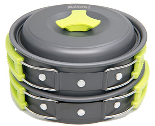 Camping Cookware Set - 10 Pieces - For Hiking, Picnic, Camp Mess Kit - Outdoor Kitchen Set - Lightweight, Nonstick, Non-Toxic, BPA Free, FDA Approved - Made Of Anodized Aluminum - Backpacking Cook Set by MAXOUT