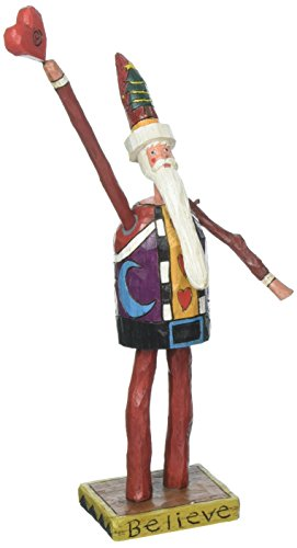 Enesco Sticks Believe Santa Claus Holding a Heart Figurine from the Celebrate Tradition - Figurine Holding Heart