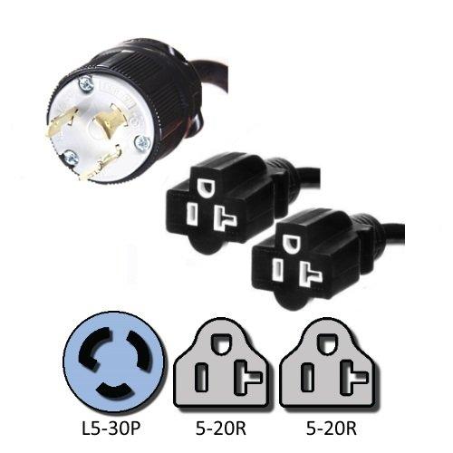 NEMA L5-30P to 2x 5-20R Y Splitter Cord - 10 Foot, 20A/125V, 12/3 SJT - Iron Box # IBX-58015202-10