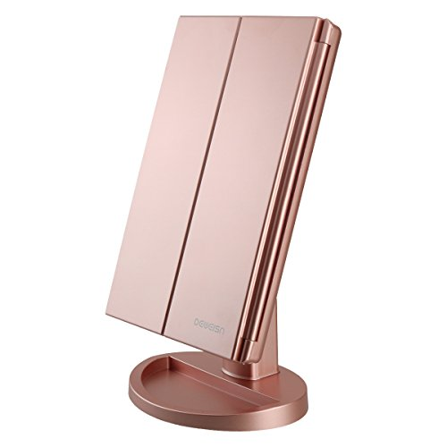 deweisn Tri-Fold Lighted Vanity Makeup Mirror with 21 LED Lights,3X/2X Magnification Mirror,Touch Sensor Switch, Two Power Supply Mode Tabletop Makeup Mirror,Travel Cosmetic Mirror (Rose Gold)