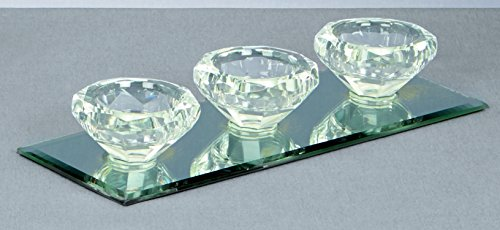 - Premier 9cm Triple Diamond Shaped Crystal Candle Holders With A Mirror Base