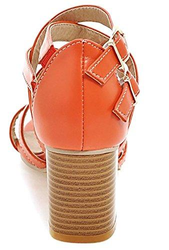 Escarpins Toe Sandales Cross Strap Femme Open Orange Criss Ankle Femme ODEMA qTzIW