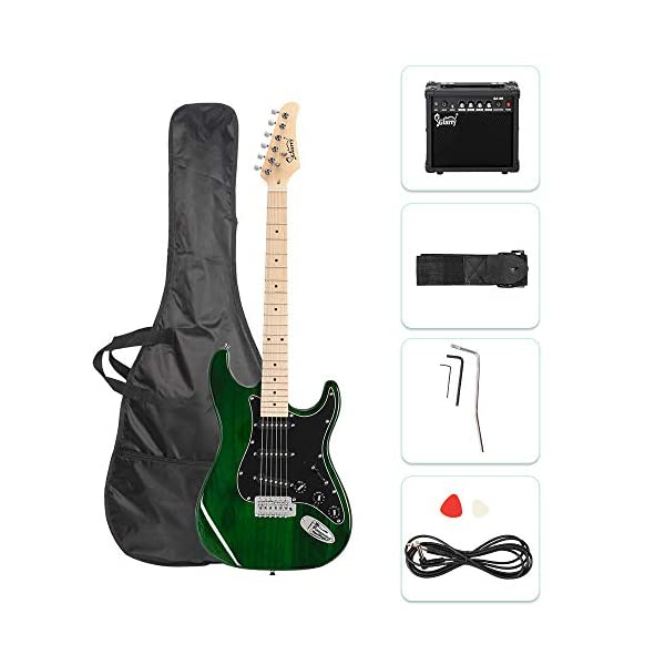 GLARRY Full Size Electric Guitar for Music Lover Beginner with 20W Amp and Accessories Pack Guitar Bag (Green) 41p 71i4M0L
