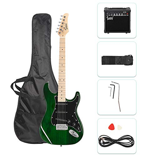 GLARRY 39″ Full Size Electric Guitar for Music Lover Beginner with 20W Amp and Accessories Pack Guitar Bag (Green)