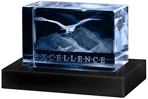 Successories 741401 Excellence Eagle 3D Crystal Award with Base by Successories