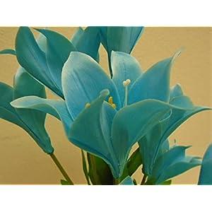 "Easter Lily Bush 10 Artificial Silk Flowers 21"" Bouquet 3022 Blue Turquoise 68"