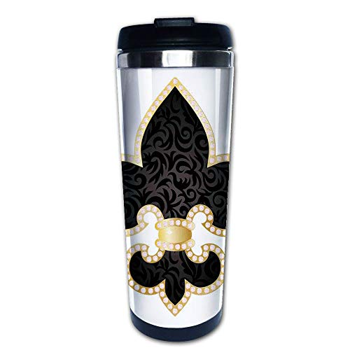 Stainless Steel Insulated Coffee Travel Mug,Lily Throne of France Empire Family Insignia,Spill Proof Flip Lid Insulated Coffee cup Keeps Hot or Cold 13.6oz(400 ml) Customizable printing