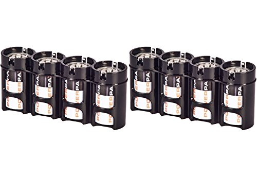 2 X Battery Holder By Powerpax D Battery Caddy, Black, 4-Pack Each Holder Carries 4 Batteries