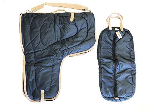 AJ Tack Wholesale Western Saddle Carrier Case Bridle Halter Bag Large 420D Padded Navy Blue