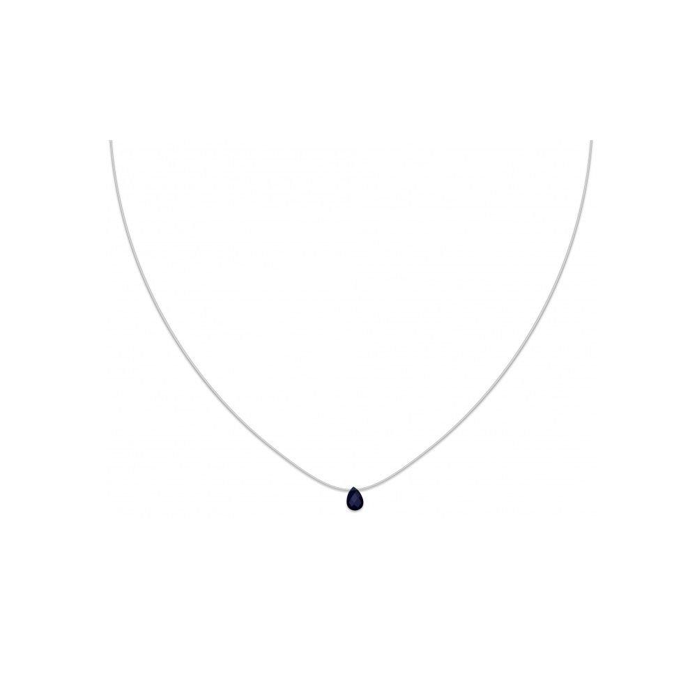 Collier Fil Nylon et Pendentif Cristal Bleu - Fermoir Argent Les Plaisirs de Stella 1982840B