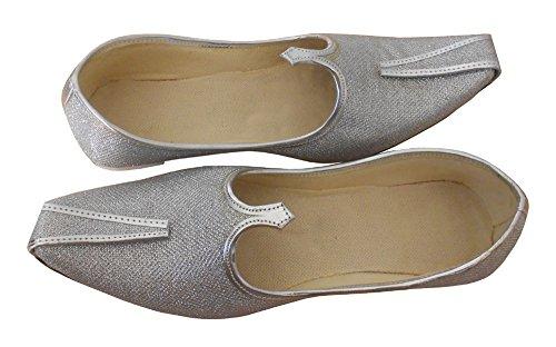 KALRA Creations Herren Traditionelle indische Rexin Hochzeit Schuhe Silber