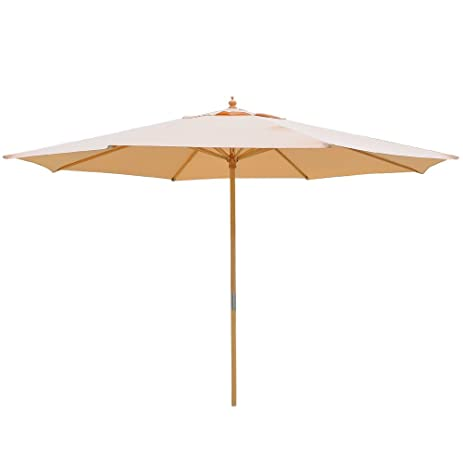 13 Foot Khaki German Beech Wood 180g Water Proof Polyester Rope Pully  Market Patio Umbrella