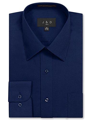 JD Apparel Men's Long Sleeve Regular Fit Solid Dress Shirt 18-18.5 N : 36-37 S Navy (Dress Solid Mens)
