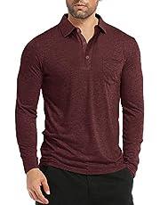 Pengfei Mens Long Sleeve Golf Polo Shirts Pocket Loose Fit Cotton Casual Work Shirt Tops