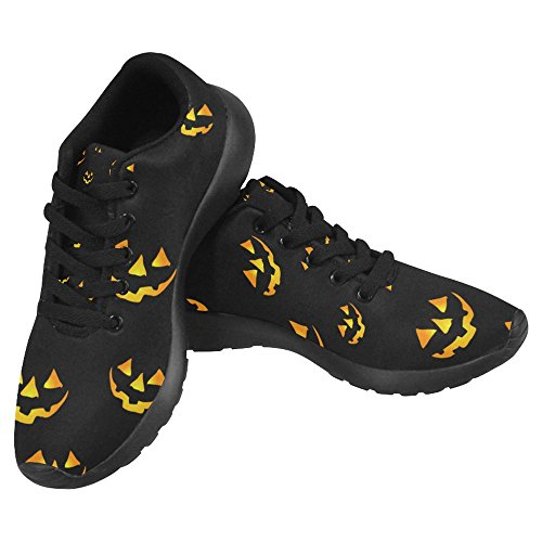 InterestPrint Women's Jogging Running Sneaker Lightweight Go Easy Walking Casual Comfort Running Shoes Size 6 Halloween Seamless Pattern with Pumpkins Scary Faces