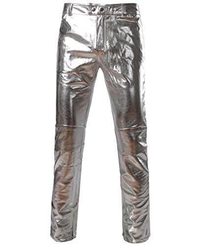[CIC Collection Men's Metallic Shiny Slim Fit Pants] (Mens Disco Costumes Pants)