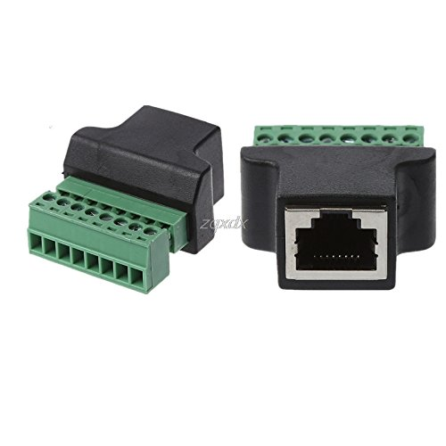 JadeShop Ethernet RJ45 Female To 8-Pin Screw Terminal Connector Adapter Cable For CCTV Digital DVR Z17