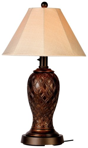 Monterey 937 Bronze 34-inch Table Lamp Antique Linen Shade by Patio Living Concepts