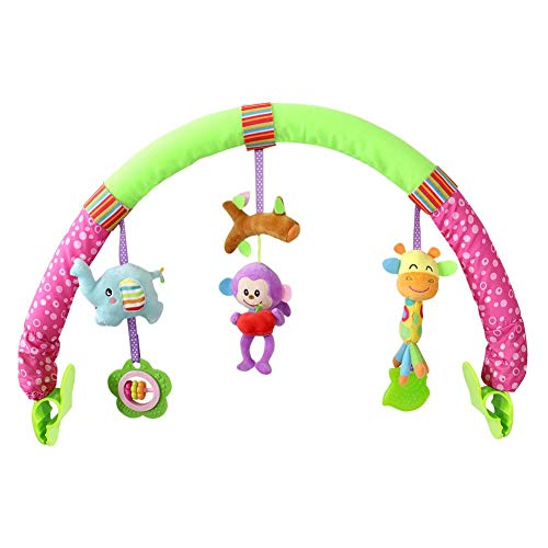 Greatpassion Baby Infant Rattle Toys Multifunctional Arch Baby Stroller Car Bed Clip Hanging Rattle Bell Animal Plush Doll Music Toy