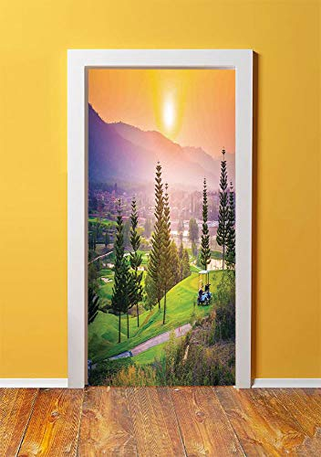 Farm House Decor 3D Door Sticker Wall Decals Mural Wallpaper,Vibrant Golf Resort Park in Spring Season with Trees Sunset Hills and Valley,DIY Art Home Decor Poster Decoration 30.3x78.14309,Multi