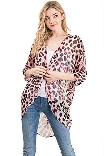 Stripe Mauve Floral - Casual Light Sheer Floral Pattern Kimono Style 3/4 Outerwear Cardigan Animal Mauve M