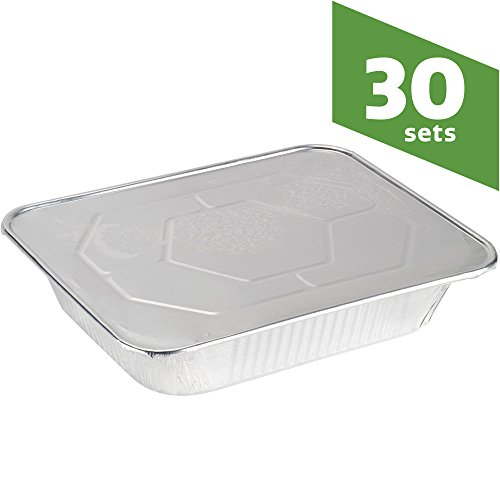 COMFY PACKAGE Half Size Deep 9 X 13 [HEAVY-DUTY] Aluminum Foil Steam Table Pans With Lids, (30 Pack Combo) (Aluminum Polished Cookware)