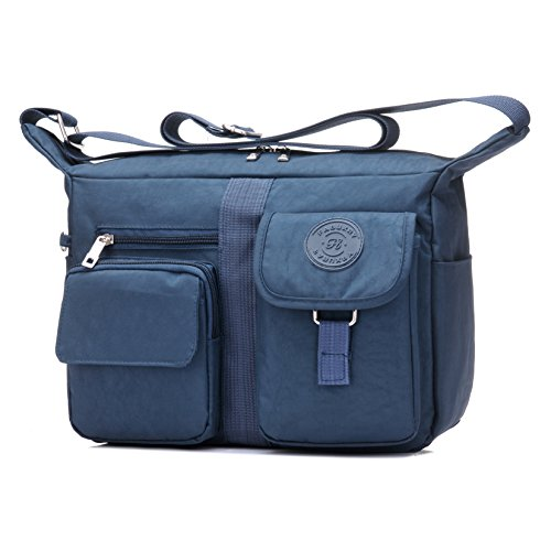 8affb57f76 Fabuxry Women s Shoulder Bags Casual Handbag Travel Bag Messenger Cross  Body Nylon Bags (Navy)
