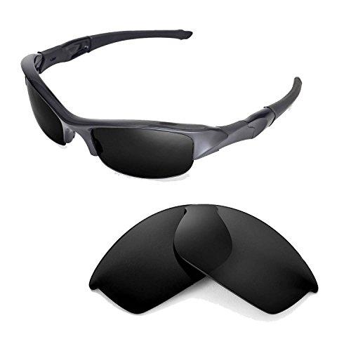 Walleva Polarized Black Replacement Lenses for Oakley Flak Jacket Sunglasses