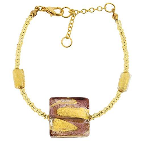 GlassOfVenice Murano Glass Royal Amethyst Square (Amethyst Murano Bracelets)
