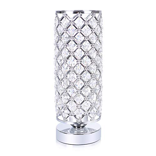 Hong-in Crystal Table Lamp, Nightstand Desk Lamp Decorative Room, Night Light Lamp, Table Lamps for Bedroom, Living Room, Kitchen, Dining Room (Silver)