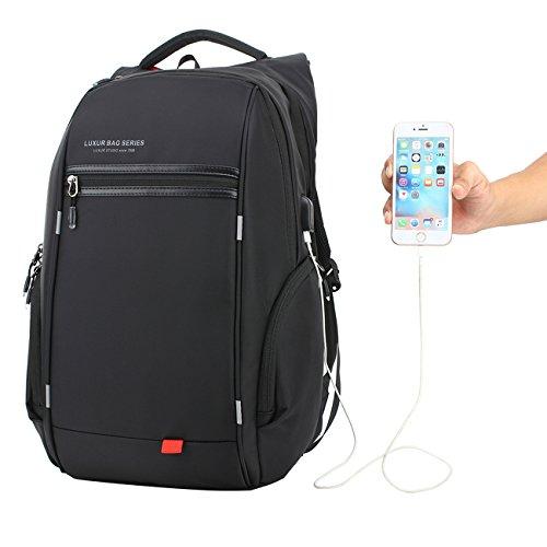 LUXUR Nylon Waterproof Laptop Backpack Casual School Business Travel Daypack Fit 16 Inch Laptop Black Image