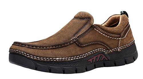 LOUECHY Herren Plawas Wanderschuhe Komfort Freizeitschuh Leder Loafers Tan für Slip-on