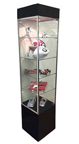 Tower Showcase Glass Retail Display Case LED Lighting Lights Assembled Black New by Unknown