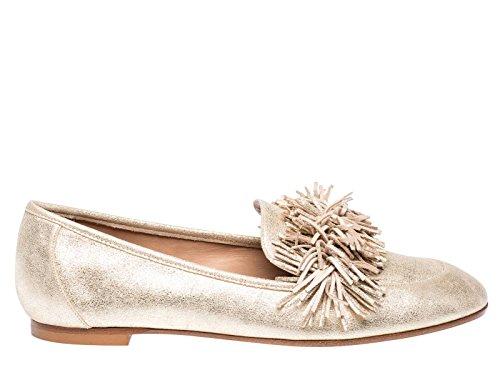 AQUAZZURA Damen WDLFLAA0SUEFD5 Gold Leder Ballerinas