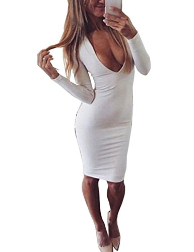 UZZDSS 2018 Winter Warm Fabric White Red Black Deep V-Neck Long Sleeve Sexy Bodycon Bandage Party Club Night Wear Dresses